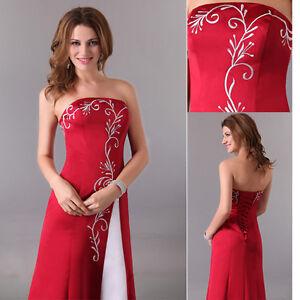 damen abendkleider lang hochzeit ballkleid brautjungfern kleider brautkleider  ebay