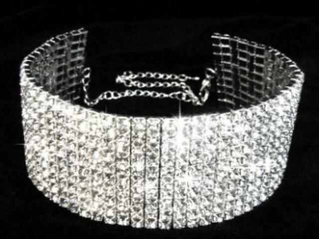 10 ROWS CLEAR RHINESTONE STRETCH Necklace Choker Wedding Bridal Prom Party