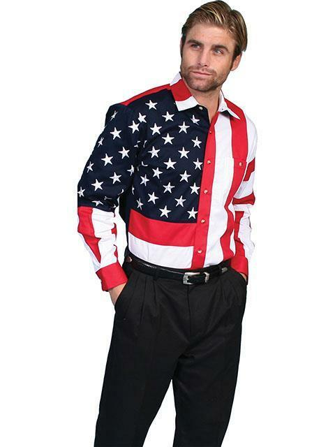 Scully Western Mens Shirt Long Sleeve Flag Stripes Button Front RW029
