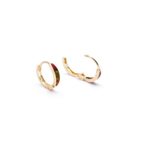 Real 14K Yellow Gold Fire Opal Earrings Hoop Huggies