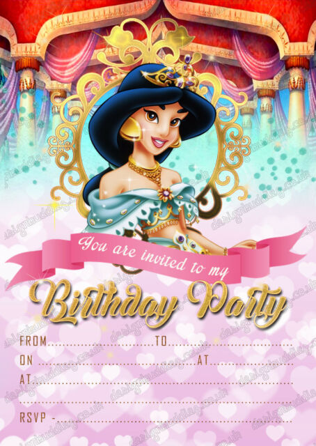 Birthday Party Invitations Disney Princess Jasmine X 8 Thick Cards +  Envelopes