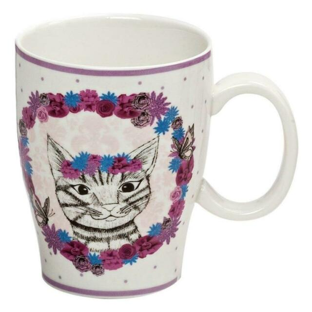 Drawn To Nature Floral Cat Mug Fine China Tea Coffee Cup House Warming Gift Box