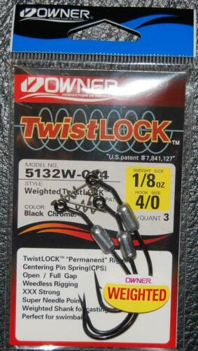 Size 4//0 Hook 1//8 oz Owner 5132W-025 WEIGHTED TWISTLOCK 3X w// Centering Pin