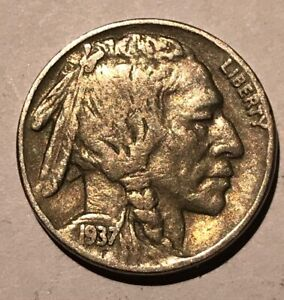"1937 P INDIAN HEAD /""BUFFALO/"" NICKEL  *GOOD OR BETTER*  **FREE SHIPPING**"