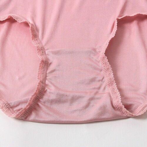 Femmes Soie Dentelle Sous-vêtements Slips Culottes Taille Haute Stretch Lingerie Knicker Cosy