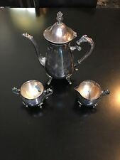 ANTIQUE LEONARD/TOWLE SILVER PLATED COFFEE/TEA POT CREAMER SUGAR SERVING SET LID