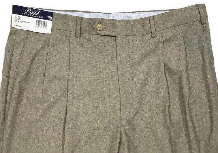 Men's RALPH LAUREN Tan Khaki Pleated Dress Pants 34X30 NWT NEW Washable Nice