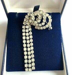 Vintage Brooch Rhinestone Paste Swirl Dangle Art Deco Style Diamante articulated