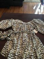 Milly Of York Luxury Silk Blouse Green And Off White Fish Print 3