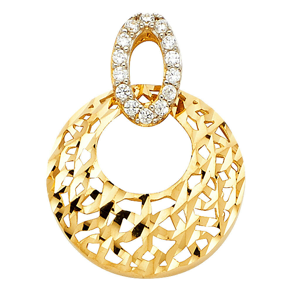 Real 14K Yellow gold CZ Filigree Round Textured Dia. Cut Disc Pendant Charm