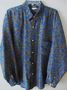 Vintage Mens Christian Dior Silk Shirt Size Large Blue Olive Leaf Print 70's