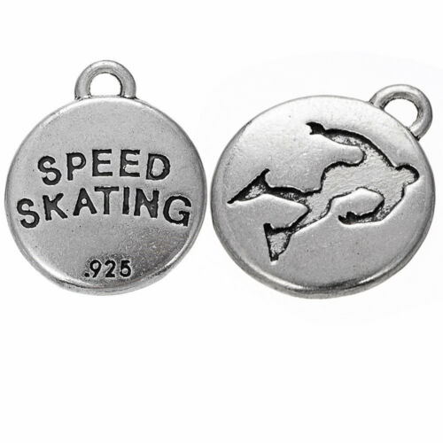 20pcs Zinc Alloy Skiing And Skating Sports Charms Jewelry Round Silver Pendant