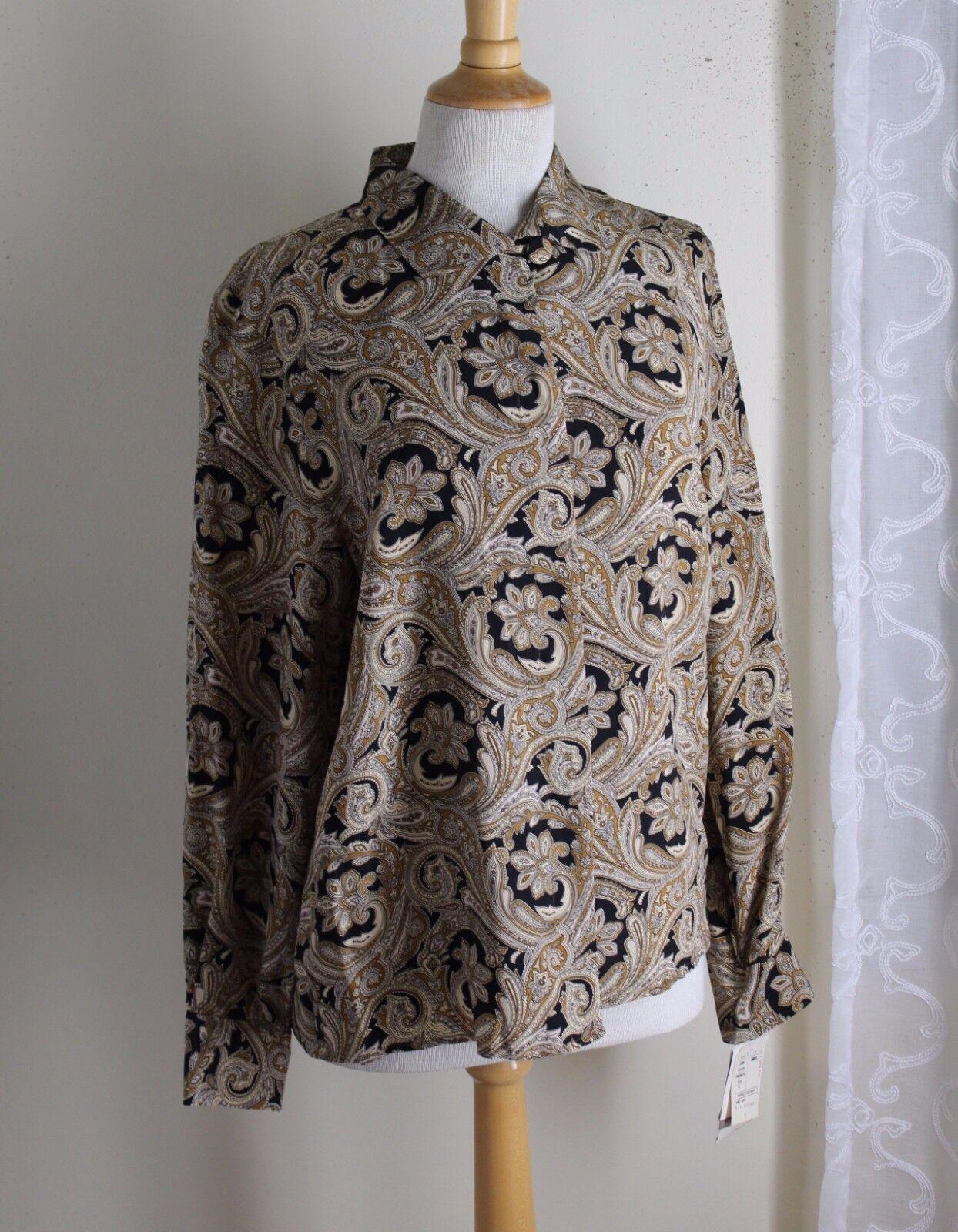 NWT Doncaster -Sz 4 Rich Elegant Art-to-Wear Silk Paisley Shirt Top Sz 4 S