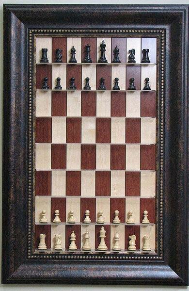 Hacia arriba tablero de ajedrez-rojo Maple Tablero de ajedrez con Marco De Bronce Antigua De Ancho