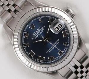 Rolex-Lady-Datejust-69174-Steel-26mm-No-Hole-18k-Fluted-Bezel-Navy-Roman-Dial
