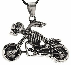 Large Motorcycle pendant Stainless Steel King's Chain Silver Silver/Black No.