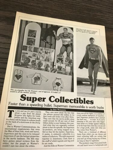 1979 VINTAGE 2 PAGE PRINT ARTICLE ABOUT SUPERMAN COLLECTIBLES CHRISTOPHER REEVE