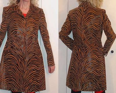 $398 Il GILET DESIGNER Shiny Suede Brown Zebra Trench Coat S