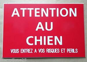 plaque-gravee-034-ATTENTION-AU-CHIEN-VOUS-ENTREZ-RISQUES-ET-PERILS-034-150-x-100-mm
