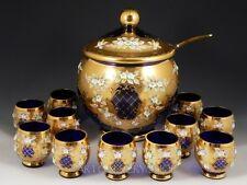 Vintage Czech Bohemian GOLD ENAMEL FLOWERS COBALT BLUE PUNCH BOWL LADLE 12 CUPS
