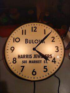 1957 Pam Lighted Clock Bulova Harris Jewelers Wilmington Delaware round watches