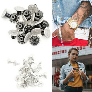 10 x 17mm Hammer on Jeans Buttons 20 Studs Metallic Silver Denim Jacket Trousers