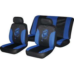 Image Is Loading 6pc BLUE Dragon Car Seat Full Cover Set