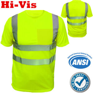 Hi Vis ANSI Class 2 Reflective Craftsman Breathable Tape T Shirts 6 Pack