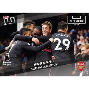 ARSENAL SCORE FIVE ON MERSEYSIDE PREMIER LEAGUE SOCCER TOPPS NOW 2017 CARD #044