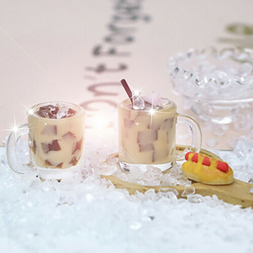 1Pc 1//12 Dollhouse Miniature Accessories Mini Resin Coffee milk jelly Drinks HU