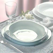 Bormioli Parma 18pc Square Dinner Service Set Opal Glass Dinnerware Dining Plate