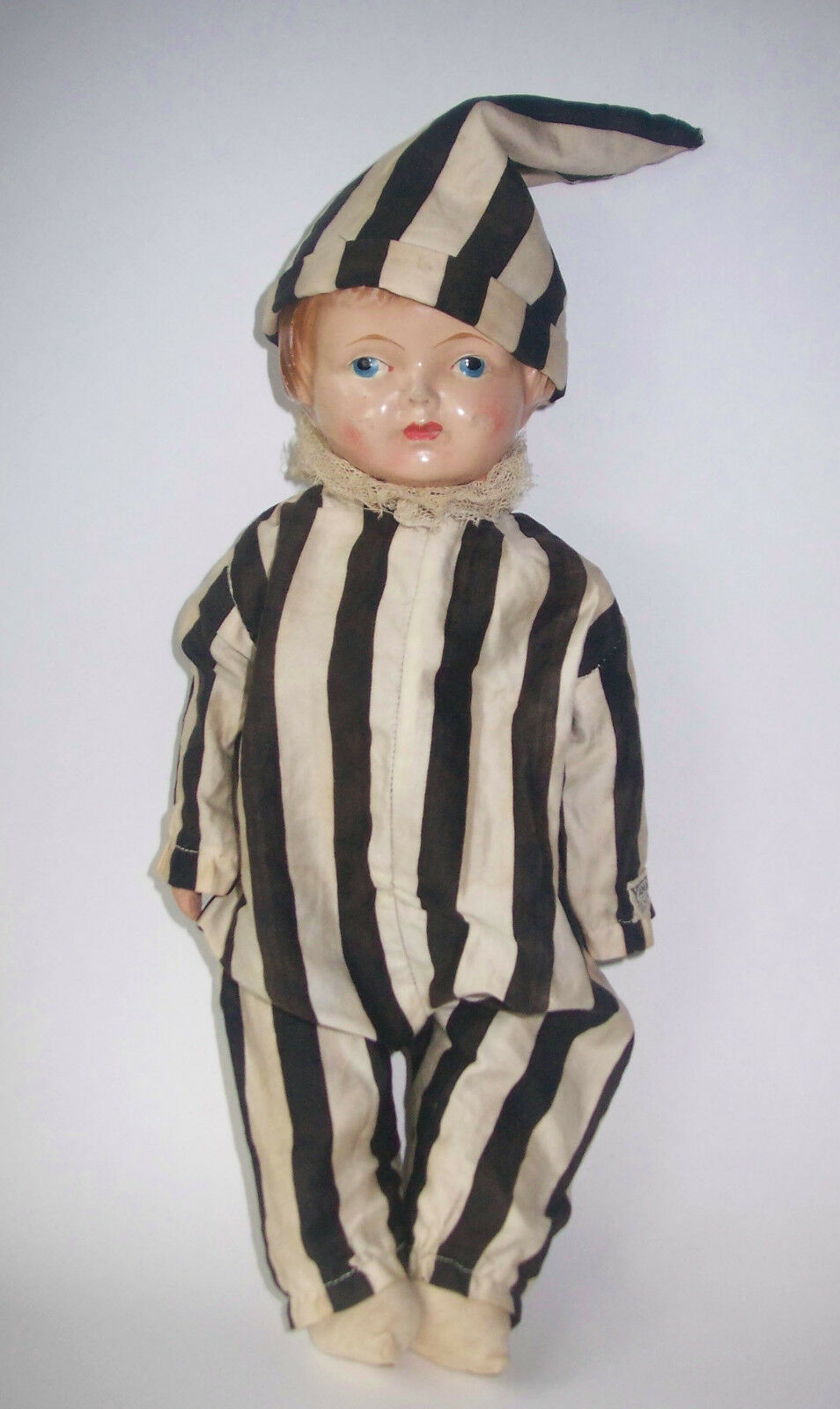 Antique Yama-Yama 1900's Novelty Composition Doll w  Jester  220 Fifth Ave NY