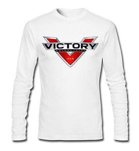 Men/'s Victory Motorcycle Logo 100/% Cotton Long Sleeve T-shirts