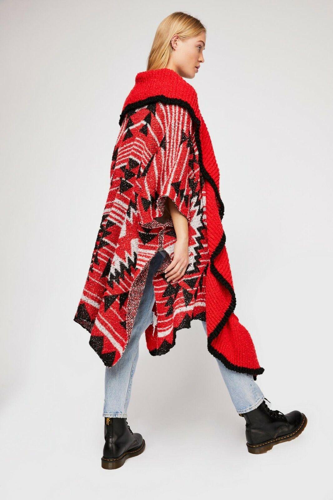 NewRare FREE PEOPLEAcadia Cozy KimonoRed ComboOne SizeOversize Sweater Coat
