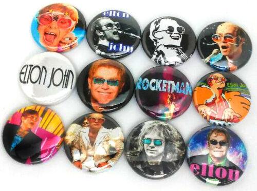 "12 ELTON JOHN 1/"" Buttons Pinbacks Pins Rock Pop Badges Rocketman Badges One In"