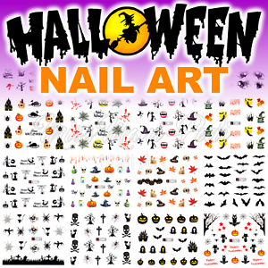 Halloween-Nails-Water-Decals-Nail-Stickers-Pumpkins-Bats-Haunted-Cats-Spiders