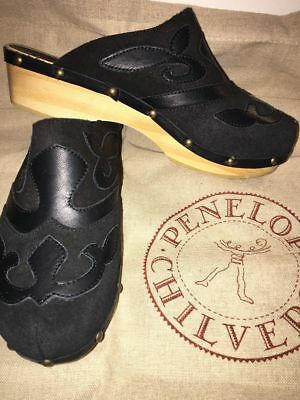 Penelope Chilvers Romero Black Wooden Clogs
