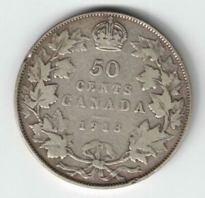 CANADA-1913-50-CENTS-HALF-DOLLAR-KING-GEORGE-V-STERLING-SILVER-CANADIAN-COIN