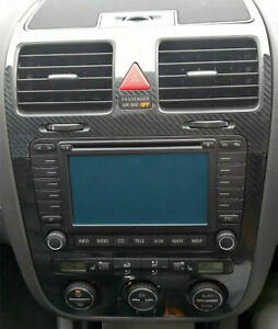VW-GOLF-5-V-Set-CLIMATRONIC-Fibra-di-Carbonio-Lucido-5D-console-bocchette-d-aria