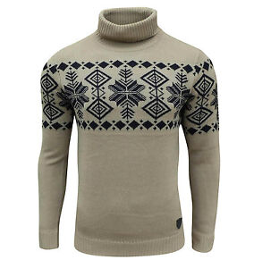 Soul Star Men/'s Boatsman Nordic Roll Neck Jumper Taupe Small