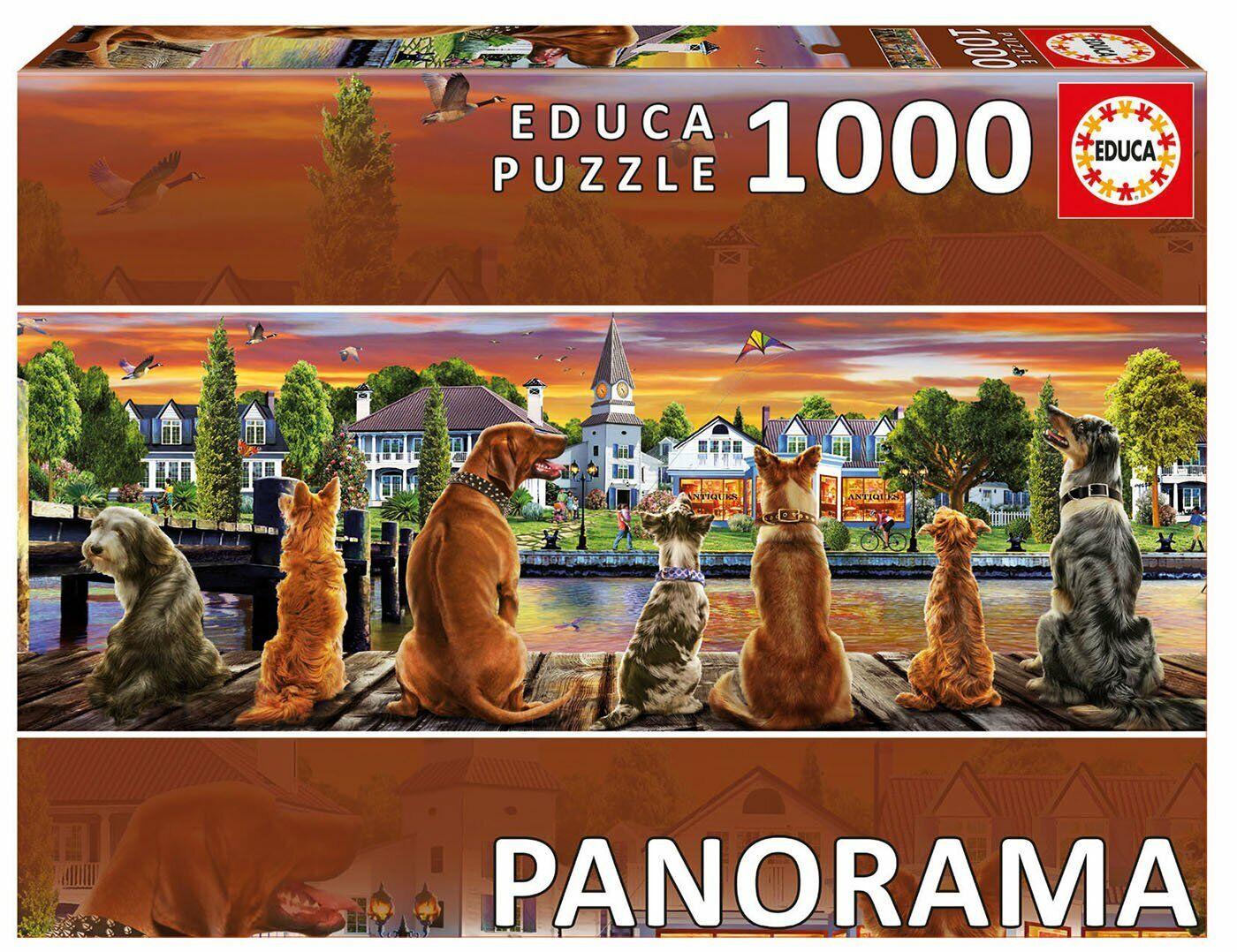 Los perros perros perros en el muelle panorama ~ 1000 Rompecabezas Pieza Educa 12382d