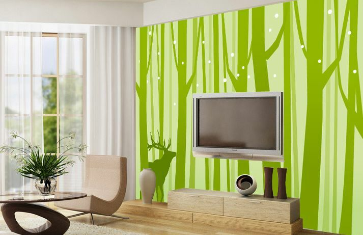 Huge 3D Forest Grün Elk Wall Paper Wall Print Decal Wall Deco Indoor wall Mural