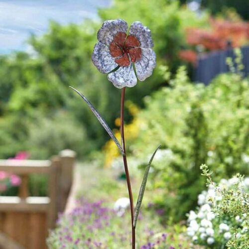 Pack Of 3 Rustique Poppy Metal Garden Decor Stakes Great Gift