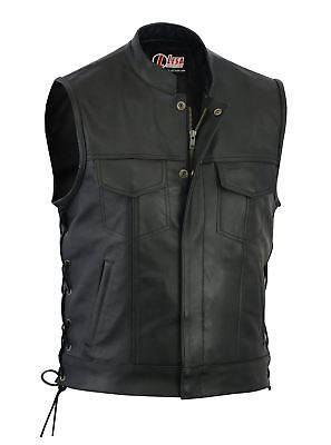 Hell Real Leather Motorbike Cut Off Vest With Chrome Biker Sons Of Anarchy Laced Up Eine GroßE Auswahl An Waren