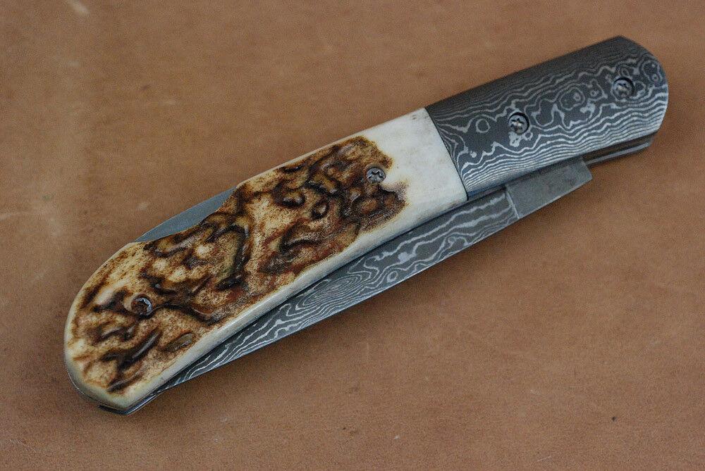 Damast Taschenmesser mit mit mit Horn-Griff in dekorativer Holzbox f. Jäger Damastmesser 8ff818
