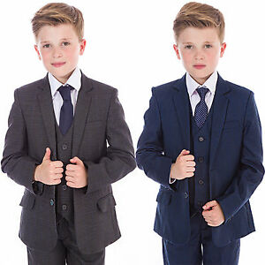 Boys-Suits-Boys-Check-costumes-Bleu-Marine-Gris-5-Pieces-Mariage-Bal-Page-Boy-Baby-Party