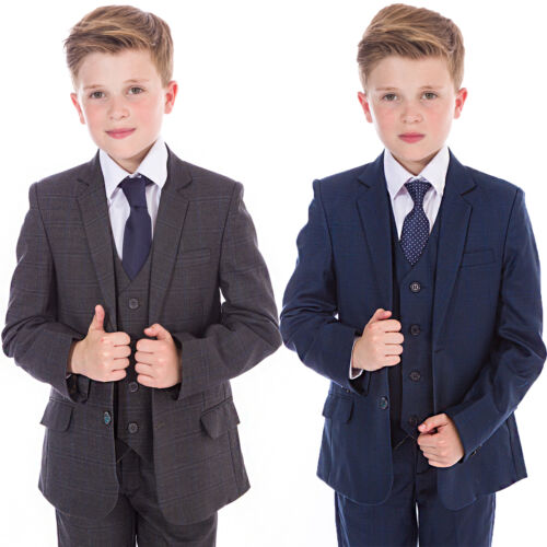 Navy Grey 5 Piece Wedding Prom Page Boy Baby Party Boys Suits Boys Check Suits
