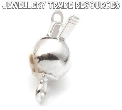 Argent Sterling 8mm boule ronde bijoux PERLES PERLE pousser dans snap lock fermoirs