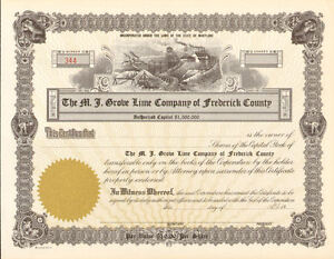 Frederick-County-Maryland-Lime-Grove-stock-certificate