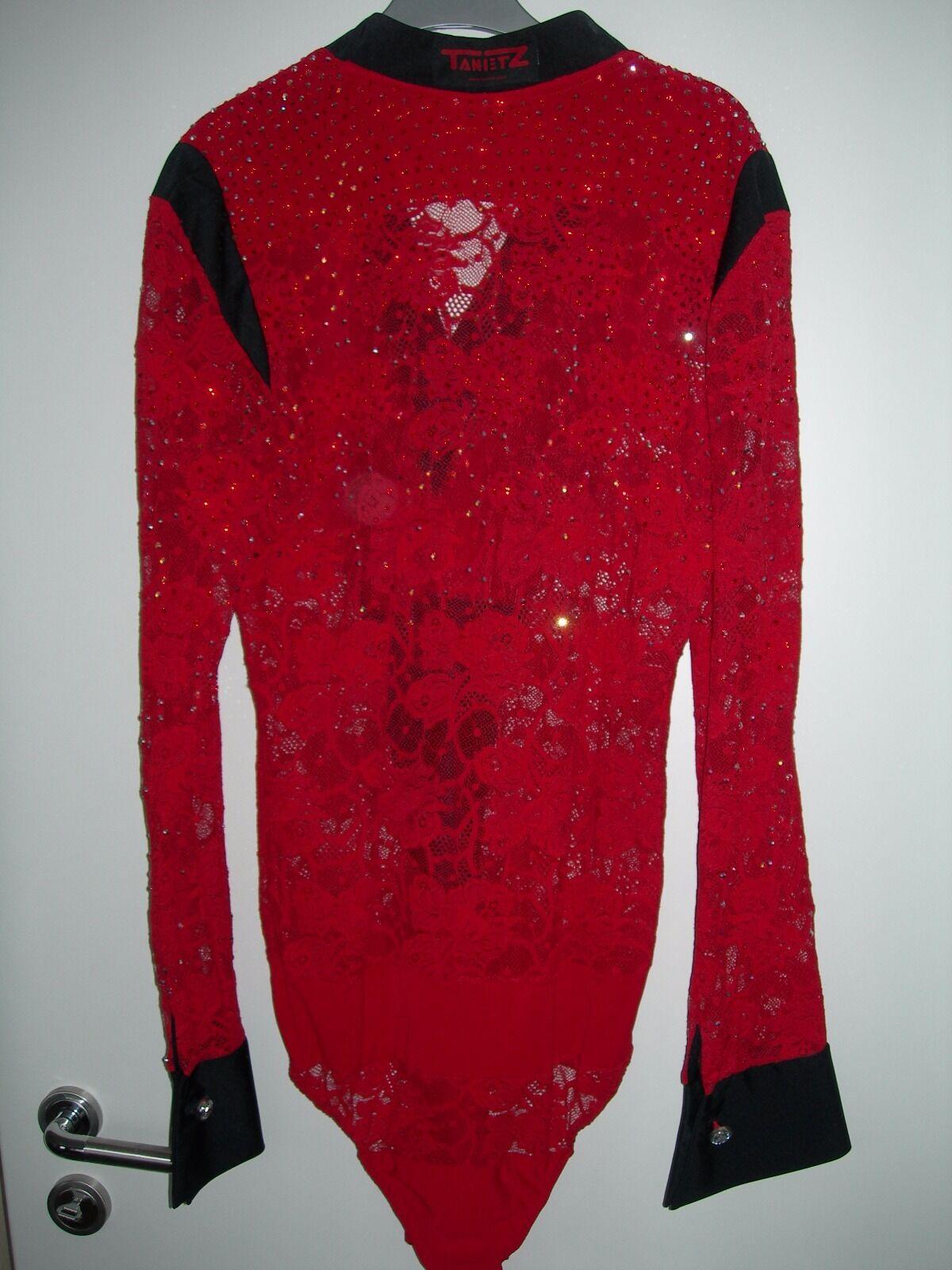 Tanz-Body rot aus Spitz-Stoff und Lycra Lycra Lycra mit Swarowski-Steine Gr.176-184 5be855